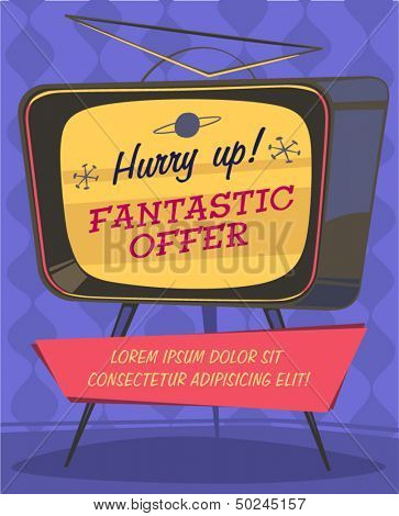 Fantastic offer on TV. Retro styled vector poster.