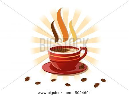 Aromatic Fresh Cup Of Coffee With Burst Of Rays