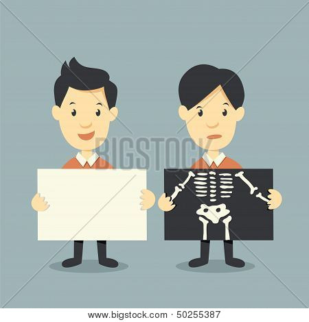 Holding Paper And X Ray Check Bones
