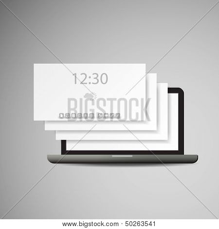 Laptop with Layers and Icons | Business Vector Illustration