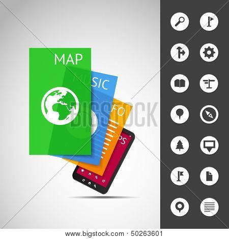 Smartphone With Layers and Icons | Business Vector Illustration