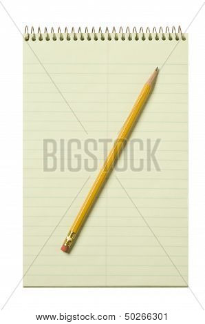 Stenographer's Pad With A Yellow Pencil