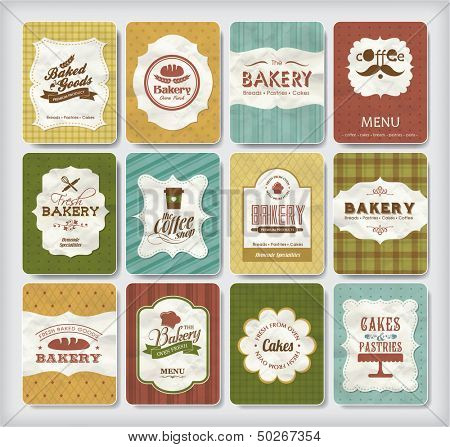 Collections of bakery design elements