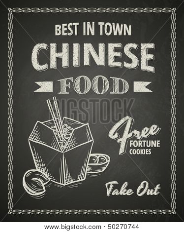 Chinese food poster on black chalkboard