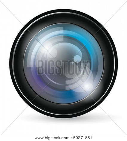 Vector camera lens app icon with blends and transparent
