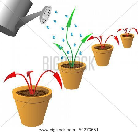 Red withered and green growing arrows in flowerpots. Raster version of vector id:30707620