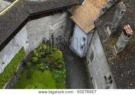 Courtyard of The Chillon Castle (Chateau de Chillon)Montreux, Switzerland. Horizontal image poster
