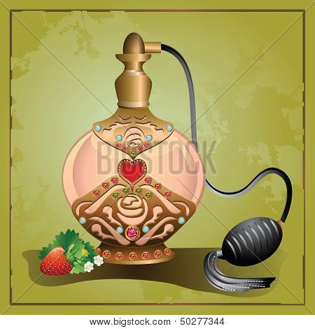 Perfume pump bottle with strawberry