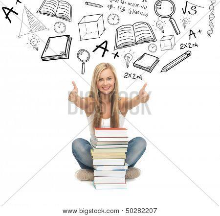Bildung und Schule Konzept - Bild von lächelnd Student mit Stapel von Büchern