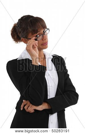 Businesswoman with unimpressed look on face poster
