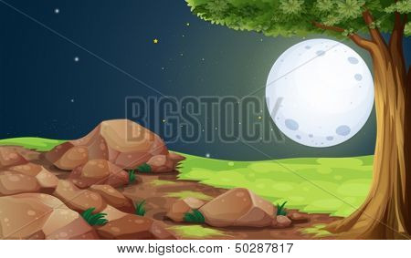 Illustration of a rocky forest under the bright fullmoon