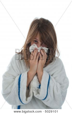 Girl Blowing Her Nose