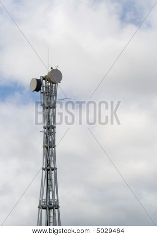Communication Tower With Satelite Dishes