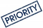 priority blue rectangular stamp on white background poster