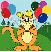 Cute cat cartoon character in the park with a backpack of colorful balloons. poster