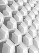 Abstract background with white honeycomb structure. 3d render illustration poster