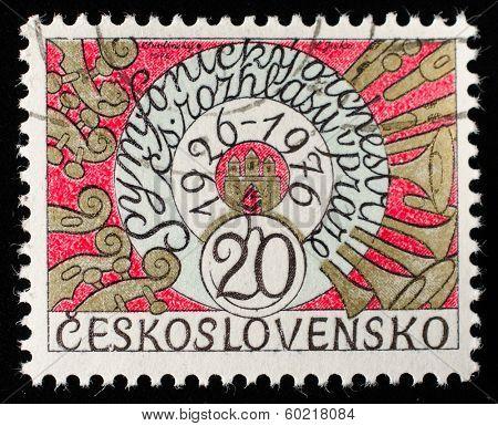 CZECH REPUBLIC - CIRCA 1976: A post stamp printed in Czech Republic and honored Prague symphony orchestra . Circa 1976.