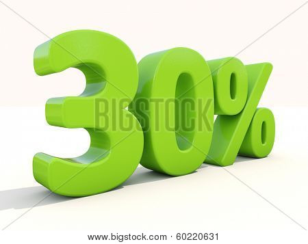 Thirty percent off. Discount 30%. 3D illustration.