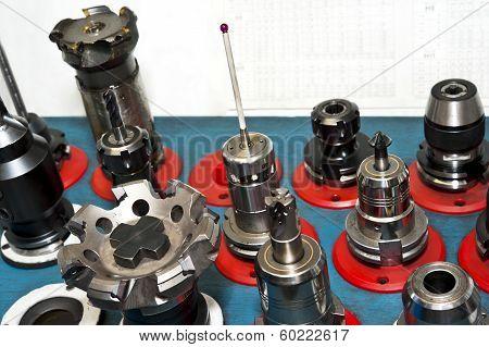 Cnc Tools. Milling Industry. Closeup.