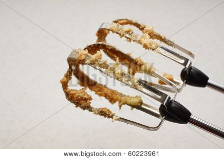 Food Mixer Beaters Covered In Butter And Sugar