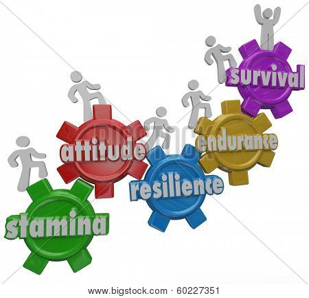 Survival Endurance Resilience Attitude Stamina People Climbing Gears to Success