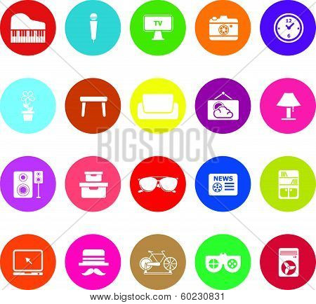 Living Room Flat Icons On White Background