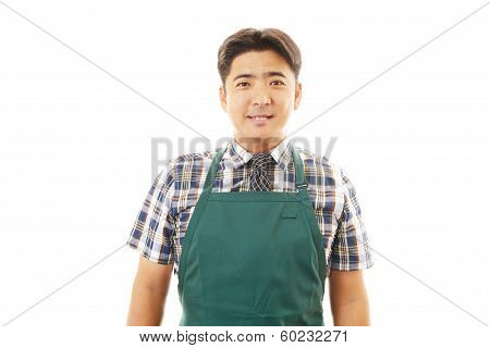 Smiling Asian waiter