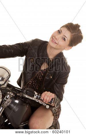 Woman Leopard Dress Motorcycle Sit Lean
