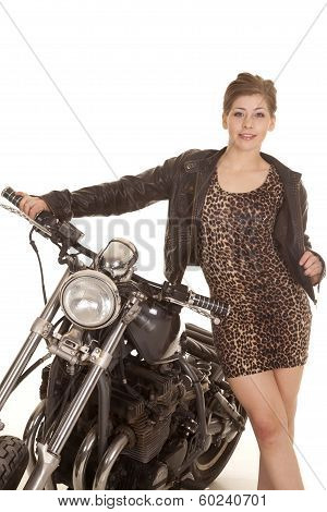 Woman Leopard Print Dress Stand By Motorcycle