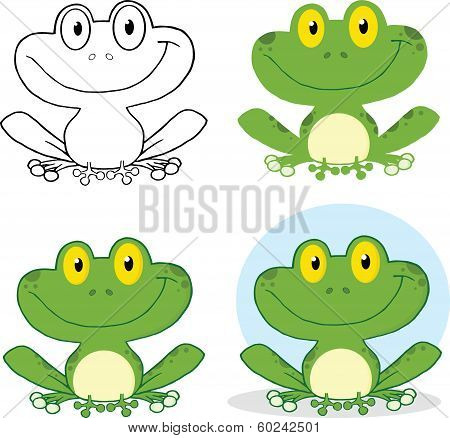 Small Smiling Frog Cartoon Character. Set Collection