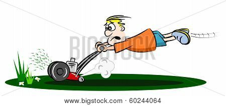 A cartoon guy cutting the grass with a run away lawn mower poster
