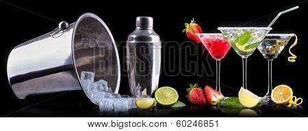 alcohol cocktail set with tasty summer fruits. Berry cooler cocktail, martini, mojito,  Pina Colada poster