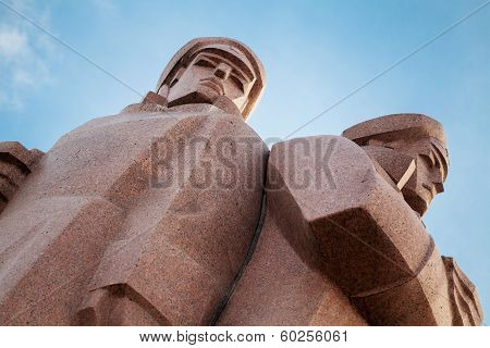 Soviet Union era monument for the Latvian Riflemen in Riga Latvia poster