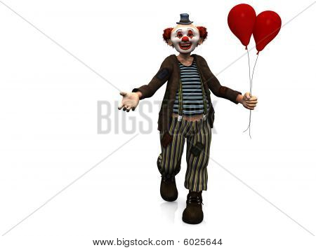 Smiling Clown With Red Balloons.