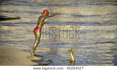 Statue of Swimmer jumping into river Vardar, skopje, macedonia