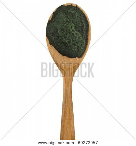 Spirulina powder - algae, nutritional supplement in spoon  isolated on white background