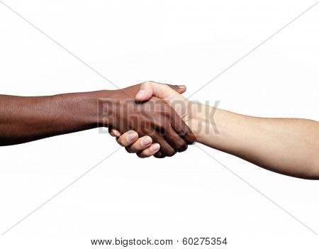 Handshake between african and a caucasian man, isolated on a white background