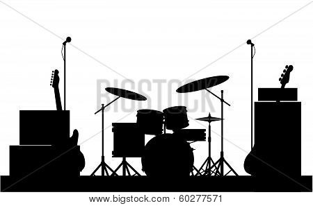 Silhouette of a rock bands equipment on stage isolated on white poster