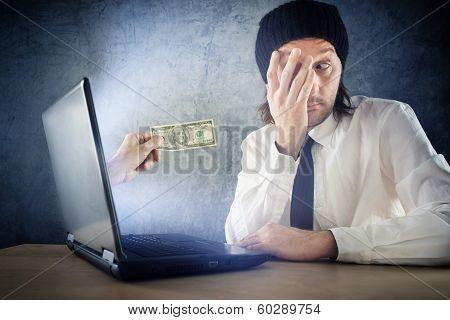 Online Money Funds, Surprised Businessman Receiving Cash Over Internet
