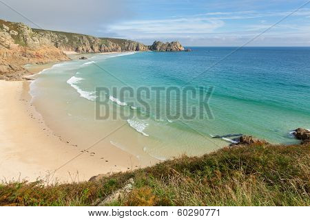 Porthcurno beach Cornwall England UK by the Minack Theatre poster