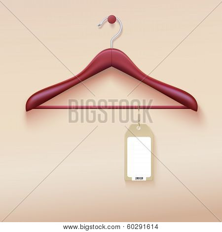 Clothes hanger with tag isolated on cream background. Vector illustration. Realistic