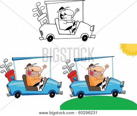 Happy Golfer in Golf Cart. Set Collection