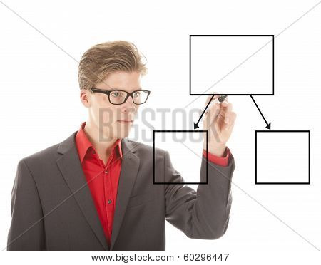 Young Student Writing An Chart Isolated On White Background