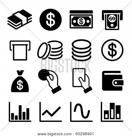 Money and business icon set. Vector illustration.