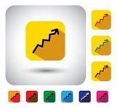 graph or report sign on button - flat design vector icon. This long shadows graphic symbol also represents financial performance earnings growth revenue & profits stock market corporate business poster