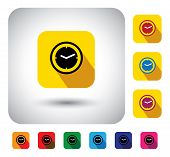 flat design vector icon - button with simple clock or watch signs. This graphic symbol with long shadows also represents the hour minutes & seconds at present the time now etc poster