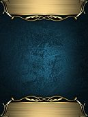 Design template - Blue rich texture with golden edges and gold trim poster