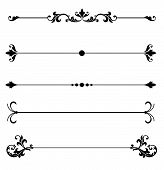Ornamental line rules for page division or design accents or to create elegant Victorian style calligraphy scroll work frame or border for a vintage ad or wedding announcement ornament poster