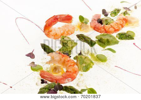 Gourmet Plate Of Shrimps With Sparagus And Ravioli Pasta