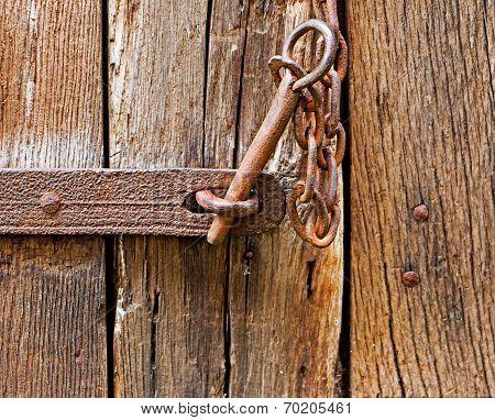 The Iron Latch On Wooden Door